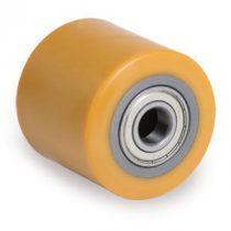 82 mm Ø raklapemelő béka görgő  80 mm széles uretán 17, 20, 25 mm válaszható tengely átmérő