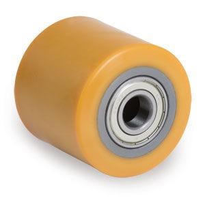 Uretán raklapemelő béka görgő, átmérő: 80mm, szélesség: 90mm, választható tengely átmérő: 17, 20, 25mm