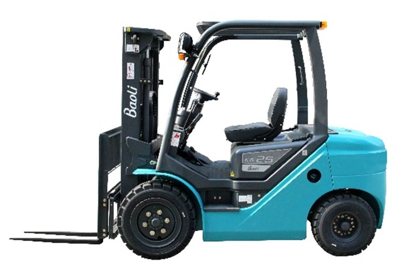 Baoli KB25D-X9 új dízel targonca Euro 3 motorral Teherbírás: 2500 kg Emelési magasság: 3000 mm. Alapkivitel, fúvott gumival