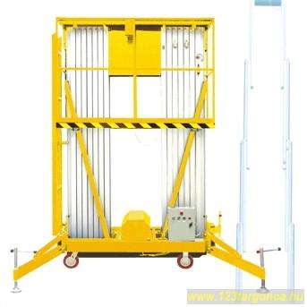GTWY8-200S kosaras emelő, 10 méteres munkamagasság hálózati elektromos emelés, kézi mozgatású munkakosár
