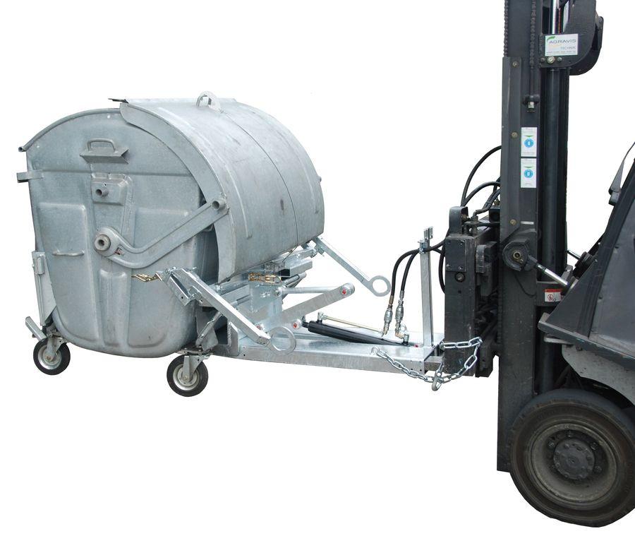 Hulladéktároló konténer döntő - ürítő targonca adapter 1100 literes DIN EN 840-3 szerinti fém konténerhez Hidraulikus döntés. horganyzott kivitel