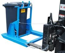 Kukaürítő szemetes borító adapter 80 és 120 literes kukához. Targonca villára húzható szeméttároló kiöntő szerkezet