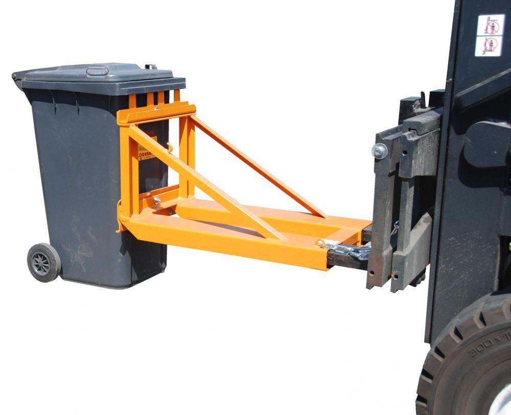 Kukaemelő továbbító adapter 80 - 120 - 240  literes kukához. Targonca villára húzható szemetes emelő szerkezet
