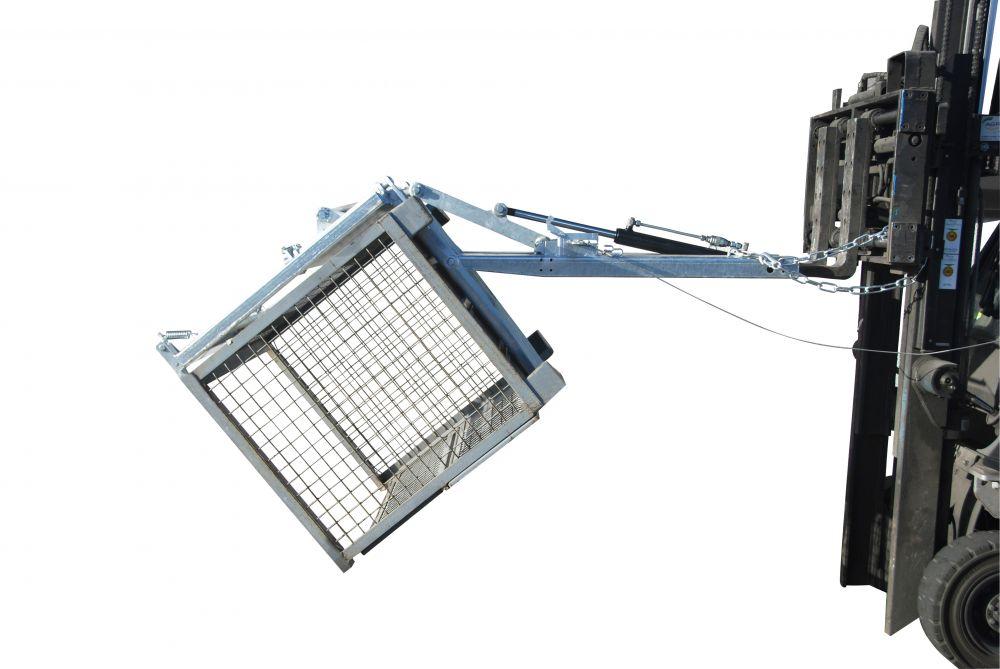 Rácsos tároló döntő - ürítő targonca adapter - csillapított mechanikus ürítés - DIN 15155 szerinti konténerhez. horganyzott kivitel