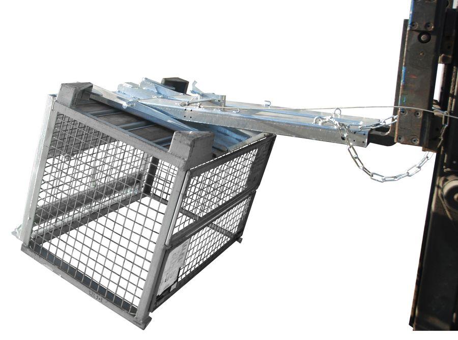 Rácsos tároló döntő - ürítő targonca adapter -  mechanikus ürítés - DIN 15155 szerinti konténerhez. horganyzott kivitelben is