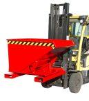 Targonca villára húzható 3 irányban üríthető konténer, 0,75 és 1 tonna teherbírással