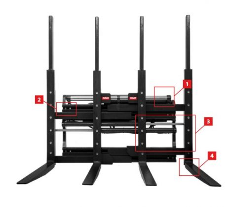 4 villás pozícionáló adapter több raklap felvételéhez
