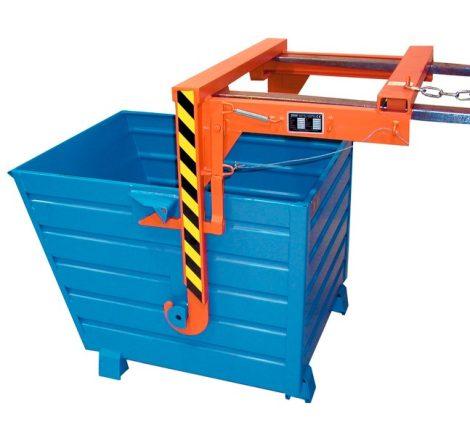 Targoncavillára csatlakoztatható borítható konténer ládaborítóval, 500-2000 kg teherbírással