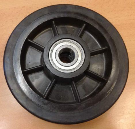 Gumi - műanyag raklapemelő béka kerék átmérő: 170mm választható tengely átmérő: 17, 20, 25mm Műanyag felni és gumi futófelület