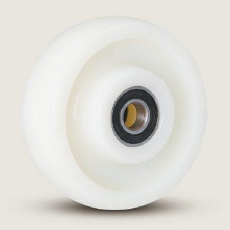 Polyamid raklapemelő béka első görgő, átmérő: 180mm, válaszható tengely átmérő: 17, 20, 25 mm