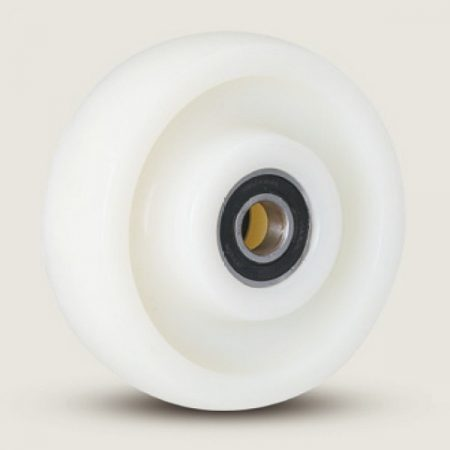 Polyamid raklapemelő béka első görgő, átmérő: 200mm, választható tengely átmérő: 17, 20, 25 mm
