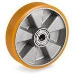 Uretán - aluminium raklapemelő béka kerék átmérő: 200mm, választható tengely átmérő: 17, 20, 25 mm, alumínium felni és poliuretán futófelület