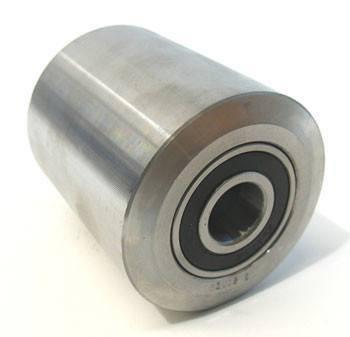 Acél raklapemelő béka görgő, átmérő: 55mm, szélesség: 80mm, tengely átmérő: 20mm