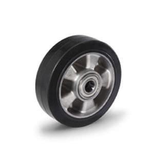 Gumi - Aluminium raklapemelő béka görgő átmérő: 250mm, választható tengely átmérő: 17, 20, 25 mm alumínium felni és gumi futófelület