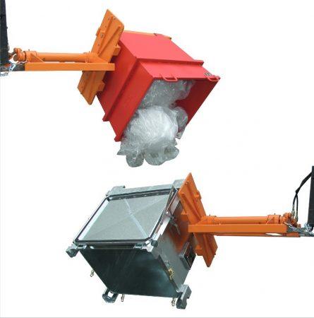 Targonca villafordító, villaforgató adapter konténerborító, 1500 kg teherbírás