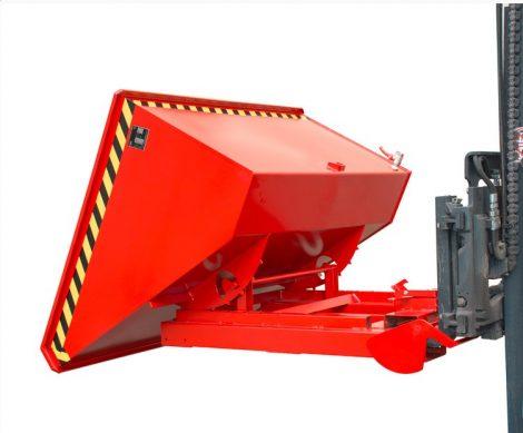 Targonca villára húzható automata dönthető fémreszelék tartály, 1 - 1,5 tonna teherbírással