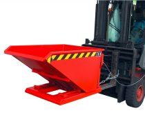 Targonca villára húzható extra alacsony MINI borítható, dönthető konténer, billencs, 0,75-1,5 tonna teherbírással