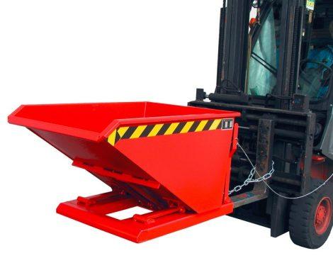 Targonca villára húzható, alacsony ollós döntésű konténer, 0,75 - 1,5 tonna teherbírással