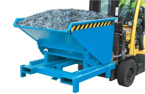 Targonca villára húzható nehézüzemű borítható, dönthető konténer, billencs, 4 tonna teherbírással