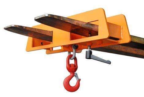 1 vagy 2 targoncavillára húzható daruhorog 1-7,5 tonna teherbírással