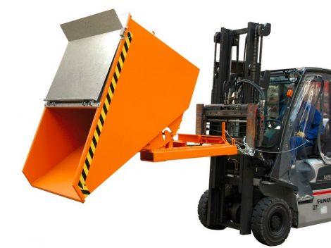 Targonca villára húzható kompakt előre gördülő konténer, 0,75 és 1,5 tonna teherbírással