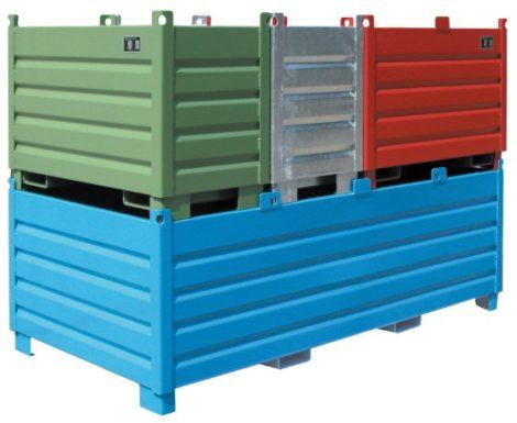 Egymásra rakodható borítható konténer 500-2250 kg teherbírással