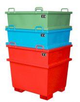 Egymásra rakodható borítható konténer 1000-2000 kg teherbírással