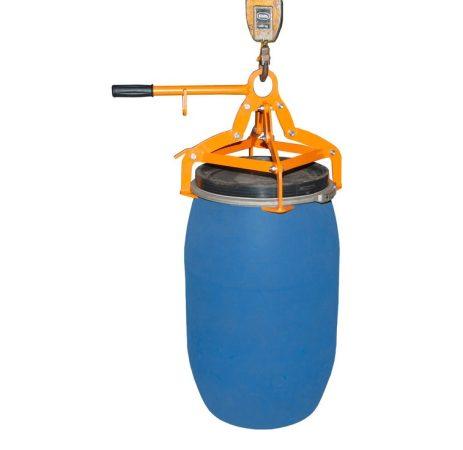 4 pontos daruzható hordófogó adapter 120-220 literes álló pozíciójú műanyag és acél hordókhoz