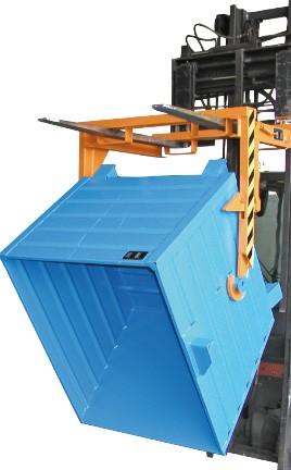 Targonca villára húzható kézi vagy hidraulikus konténerborító adapter