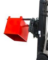 Targoncavilla forgatóra csatlakoztatható borítható fémreszelék konténer 500-1000 kg teherbírással